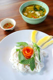Thai style noodle with vegetables Stock Images