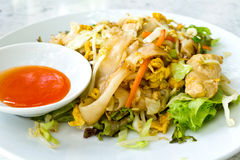 Thai style noodles. With vegetables and chicken Stock Image