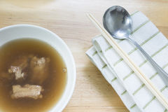 Thai- style noodles and fried garlic,leeks with Pork bone soup f. Or breakfast , lunch or dinner Stock Photography