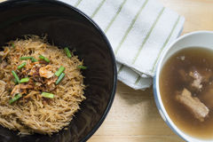 Thai- style noodles and fried garlic,leeks with Pork bone soup f. Or breakfast , lunch or dinner Stock Photo