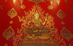 Thai style painting art old on temple wall Stock Photo