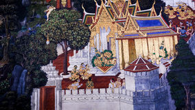 Thai style painting art old (1931) of Ramayana story on the temple wall of famous Wat Phra Kaew in Bangkok, Thailand. Stock Photos