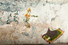 Thai style painting art on temple wall Royalty Free Stock Photos