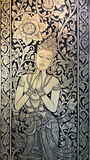Thai style painting on the door of Wat Chedi Laung temple, Chian Stock Photography