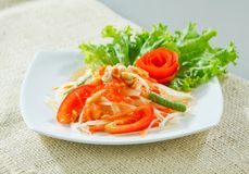Papaya salad thai style isolated on white  Stock Photography