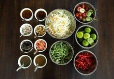 Thai style Papaya salad ingredient set Royalty Free Stock Photos