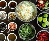 Thai style Papaya salad ingredient set Stock Photography