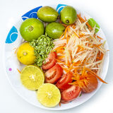 Thai style papaya salad Somtum, ingredient Royalty Free Stock Image