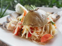 Thai style papaya spicy salad with raw blue crab. Thai style papaya spicy salad with raw blue crab, decoration with vegetable on blurry natural background Stock Photography