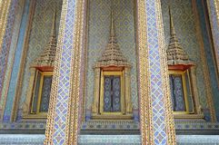 Thai style pattern wall and windows Royalty Free Stock Photos