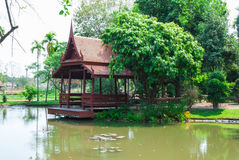 Thai Style Pavilion beside Lotus Pond in Public Park Royalty Free Stock Images