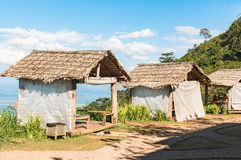 Thai style pavilion with thatched roof Royalty Free Stock Photography