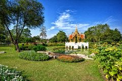 Thai style pavilion on the water at Rama 9 Garden Royalty Free Stock Image