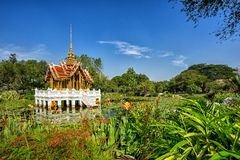 Thai style pavilion on the water at Rama 9 Garden Royalty Free Stock Photo