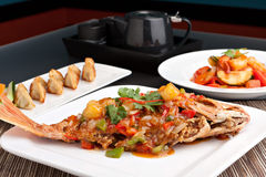 Thai Style Red Snapper Presentation Royalty Free Stock Image
