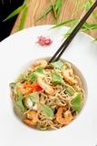 Thai style rice noodles with shrimps Stock Photos