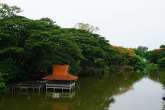 The Thai style river side pavilion Stock Image
