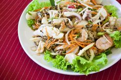 Thai style salad seafood Royalty Free Stock Images