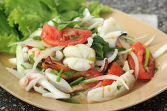 Thai style salad seafood shrimp and squid Royalty Free Stock Photo