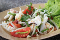 Thai style salad seafood shrimp and squid Stock Image