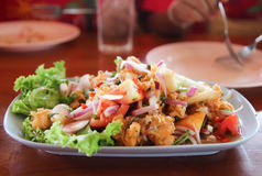 Thai style salad seafood on the table Royalty Free Stock Photo