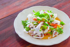 Thai style salad seafood on the wood table Stock Images