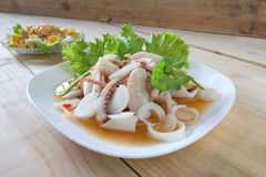 Thai style salad seafood on the wood table Royalty Free Stock Photos