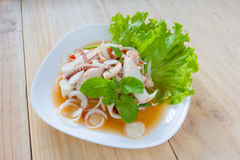 Thai style salad seafood on the wood table Royalty Free Stock Photo