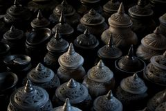 Thai style sculpture clay pot Royalty Free Stock Photo