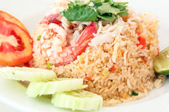 Thai Style Seafood Fried Rice. Seafood Fried Rice Thai style with brawn calamari cuttlefish crab Stock Image