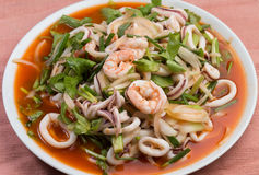 Thai style seafood salad Royalty Free Stock Photos