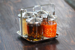 Thai style Seasoning, fish sauce, sugar, vinegar and chilli powder Stock Photography