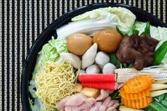 Thai style Shabu or Sukiyaki ingredient raw material Royalty Free Stock Image