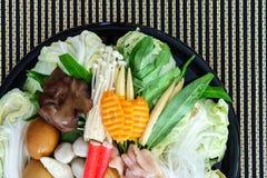 Thai style Shabu or Sukiyaki ingredient raw material Royalty Free Stock Photos