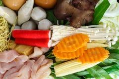 Thai style Shabu or Sukiyaki ingredient raw material Stock Images