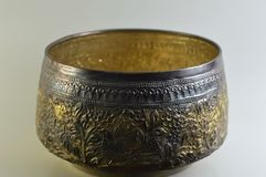 Thai style silver bowl Royalty Free Stock Image