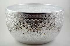 Thai style silver bowl Stock Photo