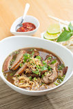 Thai Style Soup with Duck. Closeup of some Thai soup with duck and rice noodles Royalty Free Stock Photos