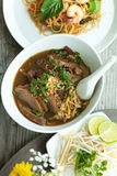 Thai Style Soup with Duck. Closeup of some Thai soup with duck and rice noodles Royalty Free Stock Image