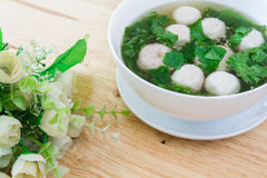 Thai style  soup with meatballs and vegetables Stock Images