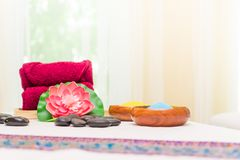 Thai Style Spa bed Spa objects. Thai Style Spa bed with Spa objects Royalty Free Stock Images