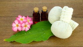 Thai style spa with herbal compress ball. Stock Photo