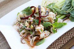 Thai style spicy minced squid salad. Thai style spicy minced squid salad, North Eastern of Thailand`s famous menu. On Thai`s style plate mat background Stock Photos