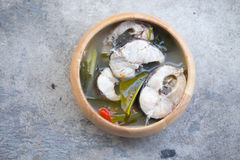 Thai style spicy soup with fish Royalty Free Stock Photos