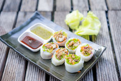 Thai Style Spicy Sushi Roll Royalty Free Stock Photos