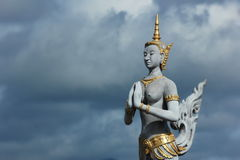 Thai style statue. A Thai style statue of a  Kinnara character in  Ramayana Stock Images