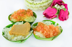 Thai style sweet desserts with Thai garland isolated Royalty Free Stock Image