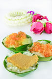 Thai style sweet desserts with Thai garland isolated Royalty Free Stock Images
