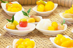 Thai style sweetmeat  and famous dessert on pannier. Royalty Free Stock Images