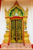 Thai style temple door Royalty Free Stock Photo